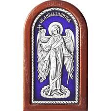 Икона Ангела Хранителя в серебре с эмалью и в деревянной рамке 12240271
