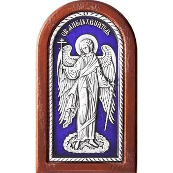 Икона Ангела Хранителя в серебре с эмалью и в деревянной рамке (арт. 12240271)