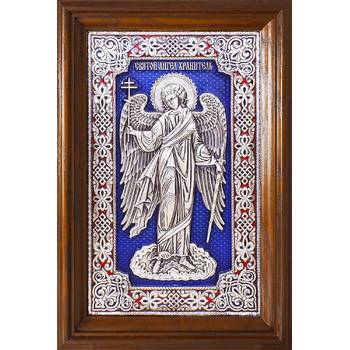 Икона Ангела Хранителя в серебре с эмалью и в деревянной рамке с басмой (арт. 12240273)