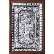 Икона Ангела Хранителя в серебре и деревянной рамке с басмой (арт. 12240274)
