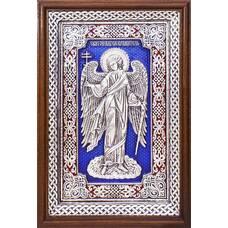 Икона Ангела Хранителя в серебре с эмалью и в деревянной рамке с басмой (арт. 12240275)