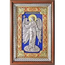 Икона Ангела Хранителя в серебре с эмалью и в деревянной рамке с басмой (арт. 12240277)