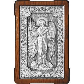Икона Ангела Хранителя в серебре и в деревянной рамке (арт. 12240278)