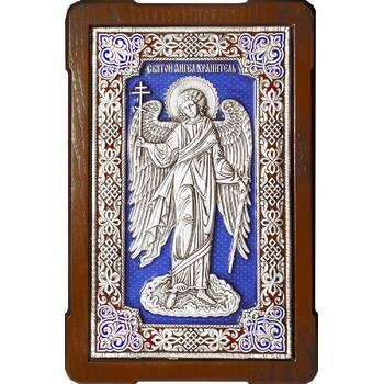 Икона Ангела Хранителя в серебре с эмалью и в деревянной рамке с басмой (арт. 12240279)
