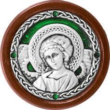 Икона в машину с образом Ангела Хранителя в серебре с эмалью 12240281