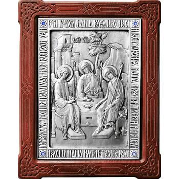 Икона Святая Троица в серебре и деревянной рамке (арт. 12240282)