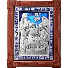 Икона Святая Троица в серебре с эмалью и деревянной рамке (арт. 12240283)