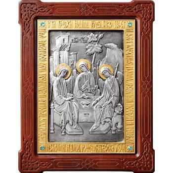 Икона Святая Троица в серебре с позолотой и деревянной рамке (арт. 12240284)