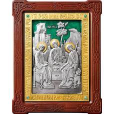 Икона Святая Троица в серебре с эмалью и позолотой (арт. 12240285)