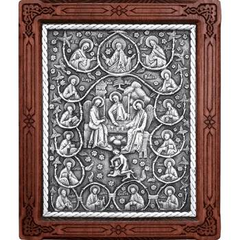 Икона Святая Троица и 12 апостолов в серебре и деревянной рамке (арт. 12240286)
