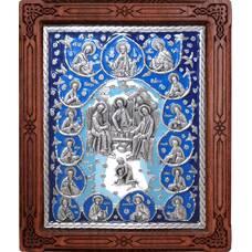 Икона Святая Троица и 12 апостолов в серебре с эмалью и деревянной рамке (арт. 12240287)