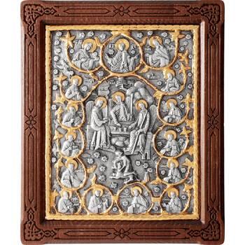 Икона Святая Троица и 12 апостолов в серебре с позолотой и деревянной рамке (арт. 12240288)