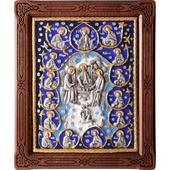 Икона Святая Троица и 12 апостолов в серебре с эмалью и позолотой (арт. 12240289)