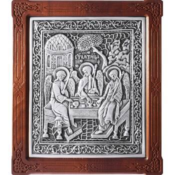 Икона Святая Троица в серебре и деревянной рамке (арт. 12240290)
