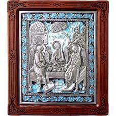 Икона Святая Троица в серебре с эмалью и деревянной рамке (арт. 12240291)