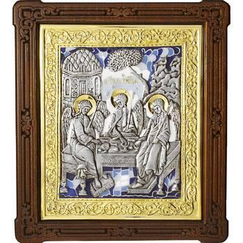 Икона Святая Троица в серебре с эмалью и позолотой (арт. 12240292)