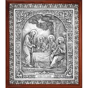 Икона Троица Ветхозаветная в серебре и деревянной рамке (арт. 12240293)