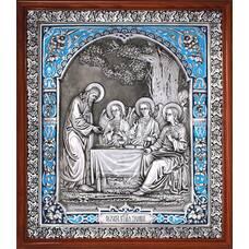 Икона Троица Ветхозаветная в серебре с эмалью и деревянной рамке 12240294