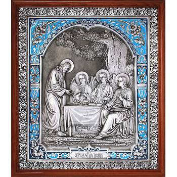 Икона Троица Ветхозаветная в серебре с эмалью и деревянной рамке (арт. 12240294)
