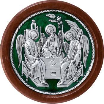 Икона Святая Троица в серебре с эмалью и деревянной рамке (арт. 12240296)