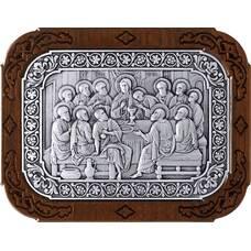 Икона Тайная вечеря в серебре и деревянной рамке 12240297