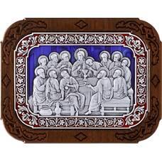 Икона Тайная вечеря в серебре с эмалью и деревянной рамке 12240298
