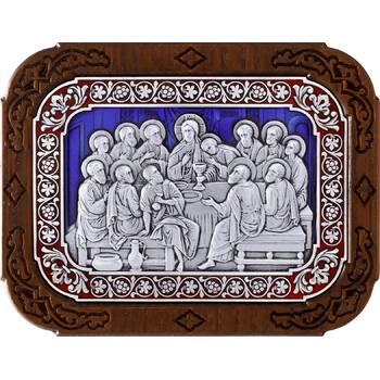 Икона Тайная вечеря в серебре с эмалью и деревянной рамке (арт. 12240298)