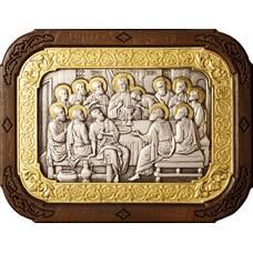 Икона Тайная вечеря в серебре с позолотой и деревянной рамке 12240299