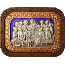Икона Тайная вечеря в серебре с эмалью и позолотой 12240300