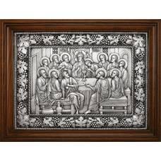 Икона Тайная вечеря в серебре и деревянной рамке 12240301