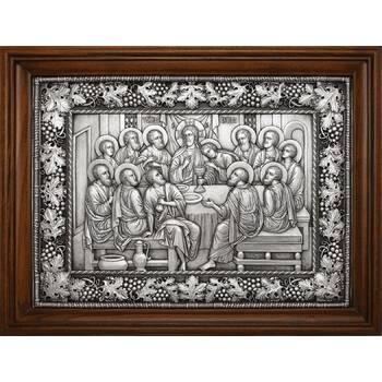 Икона Тайная вечеря в серебре и деревянной рамке (арт. 12240301)