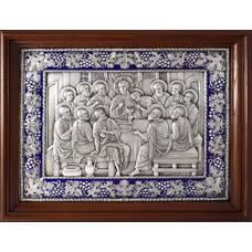 Икона Тайная вечеря в серебре с эмалью и деревянной рамке 12240302