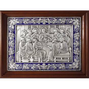 Икона Тайная вечеря в серебре с эмалью и деревянной рамке (арт. 12240302)