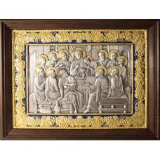 Икона Тайная вечеря в серебре с эмалью и позолотой 12240303