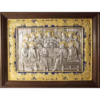 Икона Тайная вечеря в серебре с эмалью и позолотой (арт. 12240303)