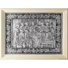 Икона Тайная вечеря в серебре с эмалью и деревянной рамке 12240304