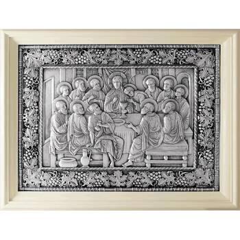 Икона Тайная вечеря в серебре и деревянной рамке белого цвета из дуба (арт. 12240304)
