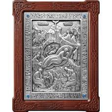 Икона Рождество Христово в серебре и деревянной рамке (арт. 12240305)