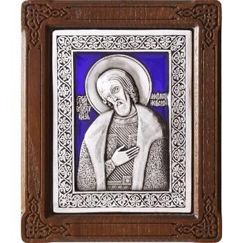 Икона Александр Невский в серебре с эмалью и деревянной рамке (арт. 12240306)