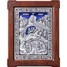 Икона Рождество Христово в серебре с эмалью и деревянной рамке (арт. 12240307)