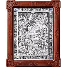 Икона Рождество Христово в серебре и деревянной рамке (арт. 12240308)