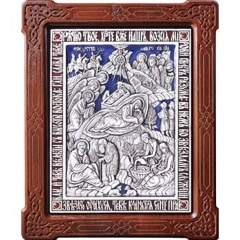 Икона Рождество Христово в серебре с эмалью и деревянной рамке (арт. 12240309)