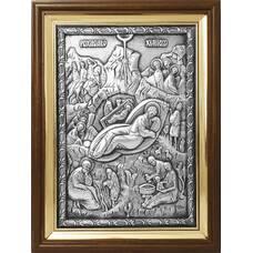 Икона Рождество Христово в серебре и деревянной рамке (арт. 12240310)