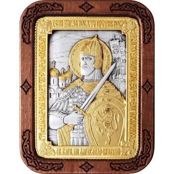 Икона Александр Невский в серебре с позолотой и деревянной рамке (арт. 12240312)