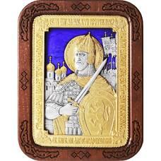 Икона Александр Невский в серебре с эмалью и позолотой (арт. 12240313)
