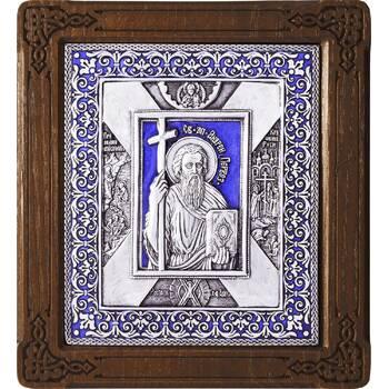 Икона Андрей Первозванный в серебре с эмалью и деревянной рамке (арт. 12240315)