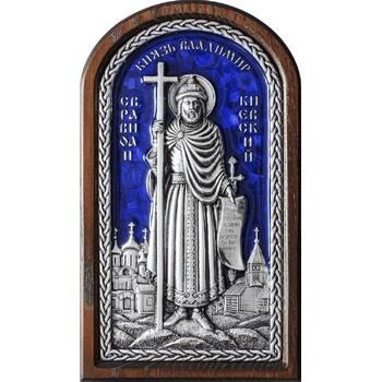 Икона Владимир, святой равноапостольный князь в серебре с эмалью и деревянной рамке (арт. 12240319)