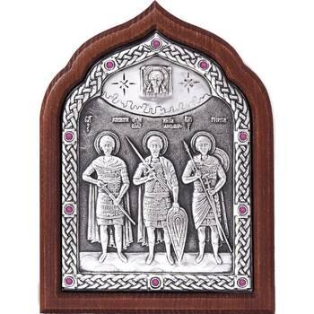 Икона Георгий Победоносец, Александр Невский, Дмитрий Солунский в серебре (арт. 12240320)
