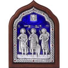 Икона Георгий Победоносец, Александр Невский, Дмитрий Солунский в серебре с эмалью (арт. 12240321)