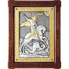 Икона Георгий Победоносец в серебре с позолотой и деревянной рамкой (арт. 12240326)